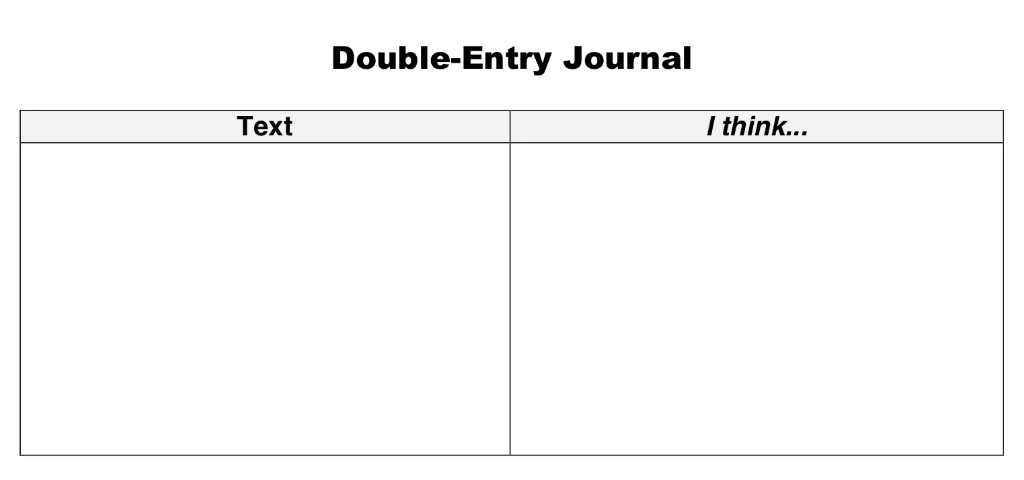 Double-Entry Journals: a flexible reading comprehension tool