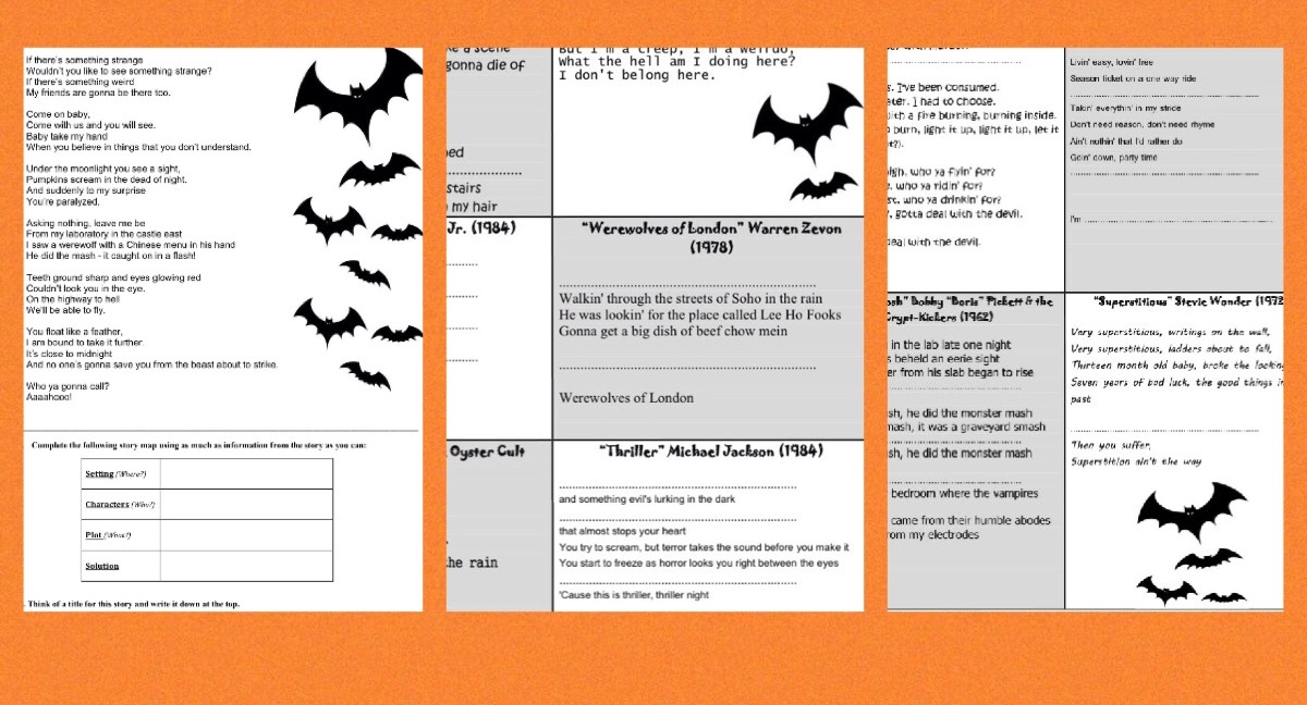 Using Context Clues: Ten Halloween Songs