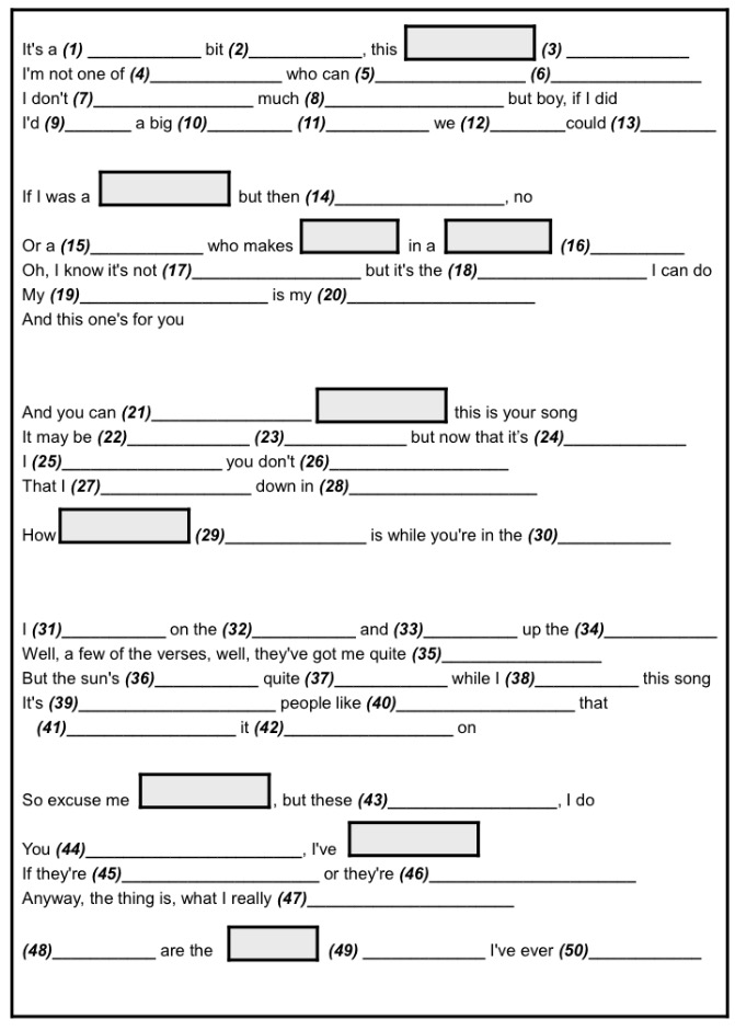 Your Song Worksheet
