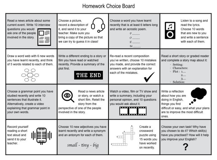 HomeworkChoiceBoard