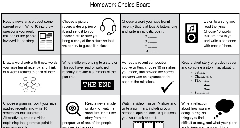 Developing Learner Autonomy: A Homework Choice Board
